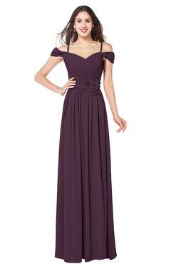 ColsBM Susan Plum Mature Short Sleeve Zipper Floor Length Ribbon Plus Size Bridesmaid Dresses
