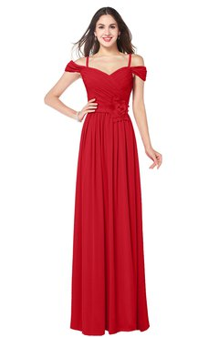 ColsBM Susan Red Mature Short Sleeve Zipper Floor Length Ribbon Plus Size Bridesmaid Dresses