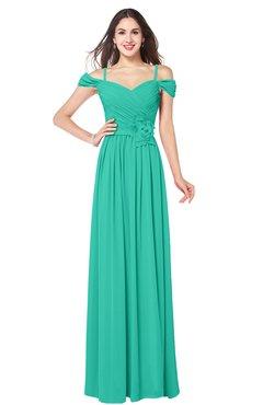 ColsBM Susan Viridian Green Mature Short Sleeve Zipper Floor Length Ribbon Plus Size Bridesmaid Dresses