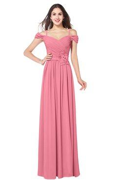 ColsBM Susan Watermelon Mature Short Sleeve Zipper Floor Length Ribbon Plus Size Bridesmaid Dresses