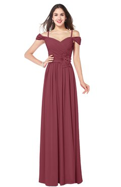 ColsBM Susan Wine Mature Short Sleeve Zipper Floor Length Ribbon Plus Size Bridesmaid Dresses