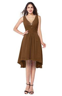 ColsBM Ainsley Brown Elegant A-line Zipper Hi-Lo Ruching Plus Size Bridesmaid Dresses