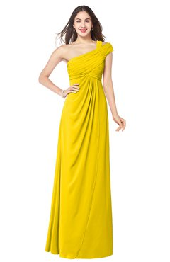 ColsBM Bethany Yellow Modern A-line Sleeveless Chiffon Floor Length Plus Size Bridesmaid Dresses