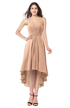 ColsBM Hannah Almost Apricot Casual A-line Halter Half Backless Asymmetric Ruching Plus Size Bridesmaid Dresses