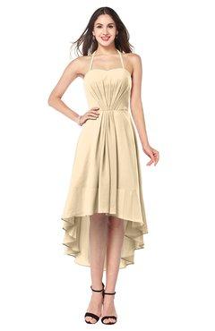 ColsBM Hannah Apricot Gelato Casual A-line Halter Half Backless Asymmetric Ruching Plus Size Bridesmaid Dresses