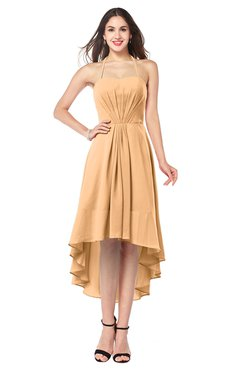 ColsBM Hannah Apricot Casual A-line Halter Half Backless Asymmetric Ruching Plus Size Bridesmaid Dresses