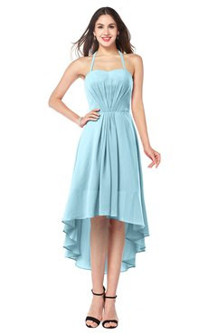 ColsBM Hannah Aqua Casual A-line Halter Half Backless Asymmetric Ruching Plus Size Bridesmaid Dresses