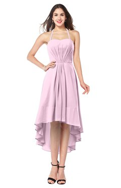 ColsBM Hannah Baby Pink Casual A-line Halter Half Backless Asymmetric Ruching Plus Size Bridesmaid Dresses