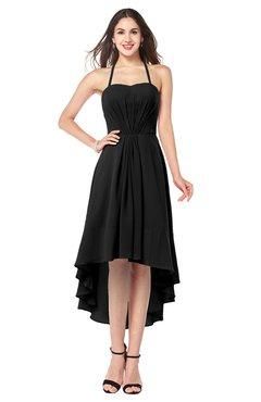 ColsBM Hannah Black Casual A-line Halter Half Backless Asymmetric Ruching Plus Size Bridesmaid Dresses