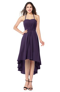 ColsBM Hannah Blackberry Cordial Casual A-line Halter Half Backless Asymmetric Ruching Plus Size Bridesmaid Dresses