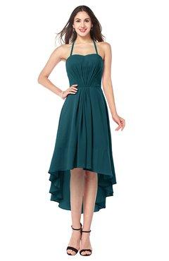 ColsBM Hannah Blue Green Casual A-line Halter Half Backless Asymmetric Ruching Plus Size Bridesmaid Dresses