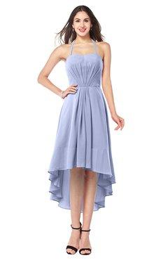 ColsBM Hannah Blue Heron Casual A-line Halter Half Backless Asymmetric Ruching Plus Size Bridesmaid Dresses