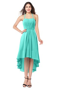ColsBM Hannah Blue Turquoise Casual A-line Halter Half Backless Asymmetric Ruching Plus Size Bridesmaid Dresses