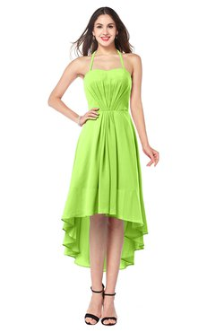 ColsBM Hannah Bright Green Casual A-line Halter Half Backless Asymmetric Ruching Plus Size Bridesmaid Dresses