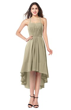 ColsBM Hannah Candied Ginger Casual A-line Halter Half Backless Asymmetric Ruching Plus Size Bridesmaid Dresses