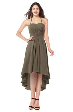 ColsBM Hannah Carafe Brown Casual A-line Halter Half Backless Asymmetric Ruching Plus Size Bridesmaid Dresses