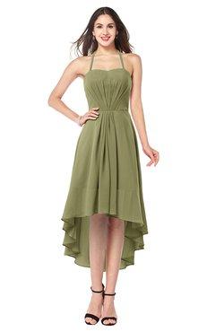 ColsBM Hannah Cedar Casual A-line Halter Half Backless Asymmetric Ruching Plus Size Bridesmaid Dresses