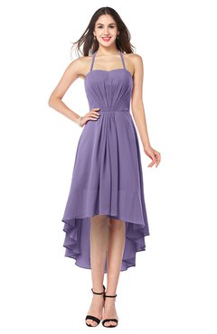 ColsBM Hannah Chalk Violet Casual A-line Halter Half Backless Asymmetric Ruching Plus Size Bridesmaid Dresses