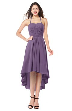 ColsBM Hannah Chinese Violet Casual A-line Halter Half Backless Asymmetric Ruching Plus Size Bridesmaid Dresses
