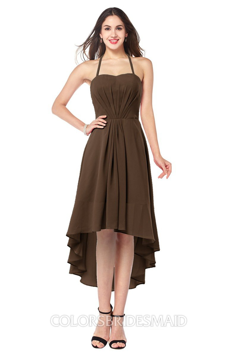 76e9eac0eb11 ColsBM Hannah Chocolate Brown Casual A-line Halter Half Backless Asymmetric  Ruching Plus Size Bridesmaid