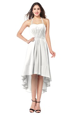 ColsBM Hannah Cloud White Casual A-line Halter Half Backless Asymmetric Ruching Plus Size Bridesmaid Dresses