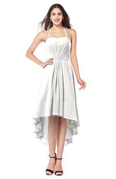 ColsBM Hannah Cloud White Casual A-line Halter Half Backless Asymmetric Ruching Plus Size Bridesmaid Dresses