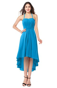 ColsBM Hannah Cornflower Blue Casual A-line Halter Half Backless Asymmetric Ruching Plus Size Bridesmaid Dresses