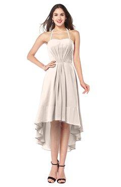 ColsBM Hannah Cream Pink Casual A-line Halter Half Backless Asymmetric Ruching Plus Size Bridesmaid Dresses