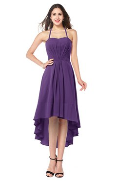ColsBM Hannah Dark Purple Casual A-line Halter Half Backless Asymmetric Ruching Plus Size Bridesmaid Dresses