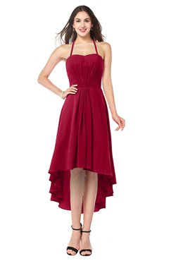 ColsBM Hannah Dark Red Casual A-line Halter Half Backless Asymmetric Ruching Plus Size Bridesmaid Dresses