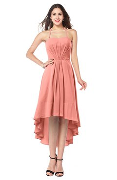 ColsBM Hannah Desert Flower Casual A-line Halter Half Backless Asymmetric Ruching Plus Size Bridesmaid Dresses