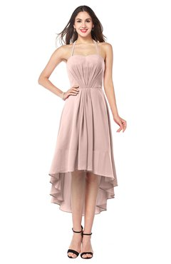 ColsBM Hannah Dusty Rose Casual A-line Halter Half Backless Asymmetric Ruching Plus Size Bridesmaid Dresses