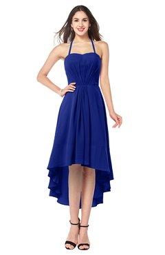 ColsBM Hannah Electric Blue Casual A-line Halter Half Backless Asymmetric Ruching Plus Size Bridesmaid Dresses
