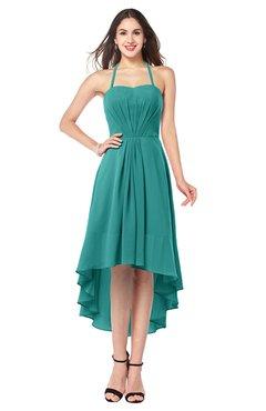 ColsBM Hannah Emerald Green Casual A-line Halter Half Backless Asymmetric Ruching Plus Size Bridesmaid Dresses
