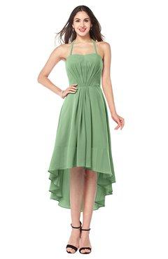 ColsBM Hannah Fair Green Casual A-line Halter Half Backless Asymmetric Ruching Plus Size Bridesmaid Dresses