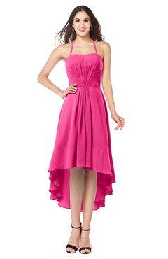 ColsBM Hannah Fandango Pink Casual A-line Halter Half Backless Asymmetric Ruching Plus Size Bridesmaid Dresses