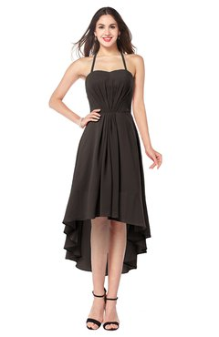 ColsBM Hannah Fudge Brown Casual A-line Halter Half Backless Asymmetric Ruching Plus Size Bridesmaid Dresses