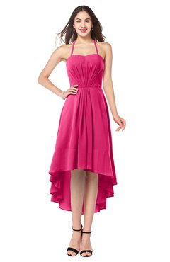ColsBM Hannah Fuschia Casual A-line Halter Half Backless Asymmetric Ruching Plus Size Bridesmaid Dresses