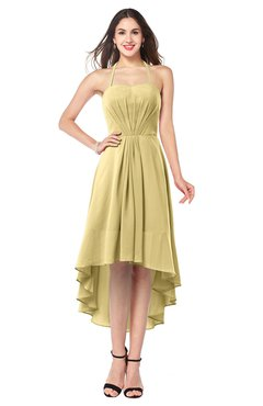 ColsBM Hannah Gold Casual A-line Halter Half Backless Asymmetric Ruching Plus Size Bridesmaid Dresses