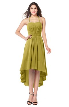 ColsBM Hannah Golden Olive Casual A-line Halter Half Backless Asymmetric Ruching Plus Size Bridesmaid Dresses