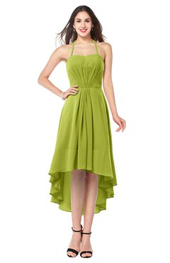 ColsBM Hannah Green Oasis Casual A-line Halter Half Backless Asymmetric Ruching Plus Size Bridesmaid Dresses