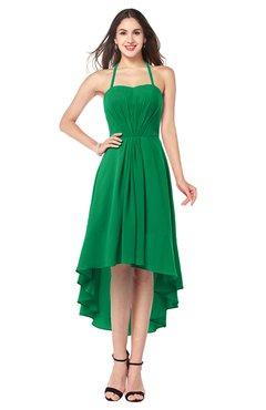 ColsBM Hannah Green Casual A-line Halter Half Backless Asymmetric Ruching Plus Size Bridesmaid Dresses