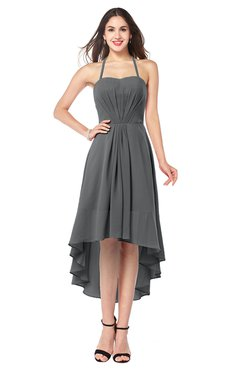ColsBM Hannah Grey Casual A-line Halter Half Backless Asymmetric Ruching Plus Size Bridesmaid Dresses