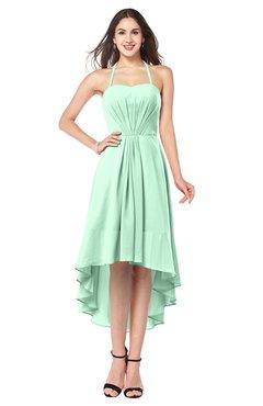 ColsBM Hannah Honeydew Casual A-line Halter Half Backless Asymmetric Ruching Plus Size Bridesmaid Dresses