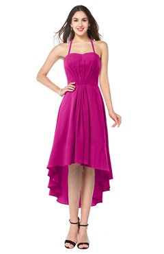 ColsBM Hannah Hot Pink Casual A-line Halter Half Backless Asymmetric Ruching Plus Size Bridesmaid Dresses