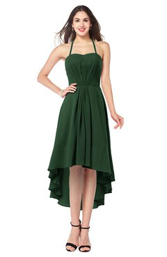 ColsBM Hannah Hunter Green Casual A-line Halter Half Backless Asymmetric Ruching Plus Size Bridesmaid Dresses