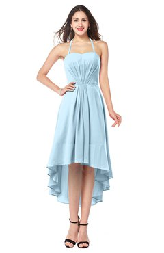 ColsBM Hannah Ice Blue Casual A-line Halter Half Backless Asymmetric Ruching Plus Size Bridesmaid Dresses
