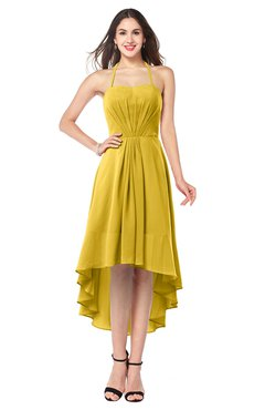 ColsBM Hannah Lemon Curry Casual A-line Halter Half Backless Asymmetric Ruching Plus Size Bridesmaid Dresses