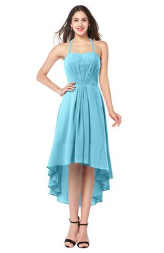 ColsBM Hannah Light Blue Casual A-line Halter Half Backless Asymmetric Ruching Plus Size Bridesmaid Dresses