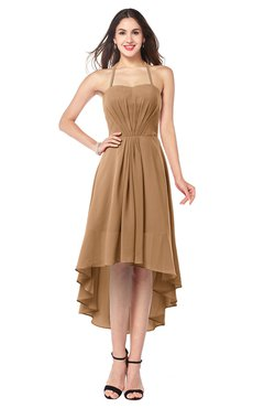 ColsBM Hannah Light Brown Casual A-line Halter Half Backless Asymmetric Ruching Plus Size Bridesmaid Dresses